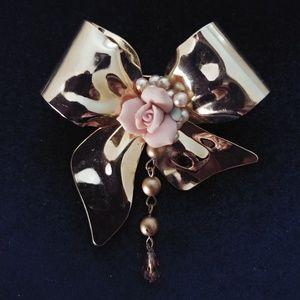 Vintage Porcelain Rose & Brass Bow Pin Brooch